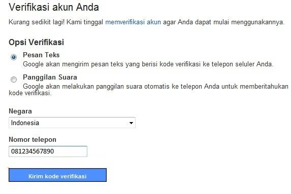 Verifikasi pendaftaran akun gmail dengan SMS